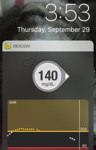 Blood sugar level on phone screen
