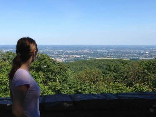 Young woman overlooking cliff in Frederick Maryland